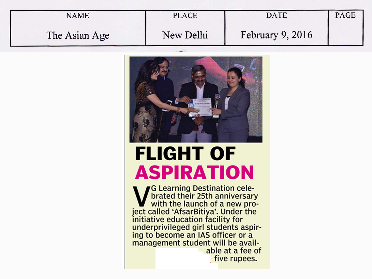 Asian Age, pg 23, 9th February 2016